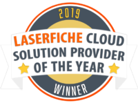 Laserfiche Cloud Provider of the Year Seal Text
